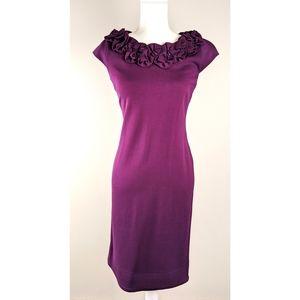 NEW Taylor purple midi dress with flower collar